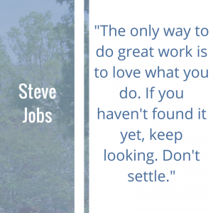 "Quote of the Week by Steve Jobs: ""The only way to do great work is to love what you do. If you haven't found it yet, keep looking. Don't settle."""