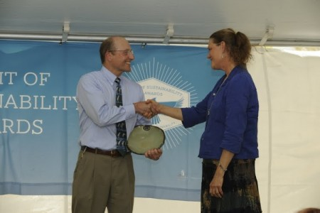 Photo of Award recipient, Cathy Love, is pictured here with Mike Kensler, Director of the Office of Sustainability at Auburn University.