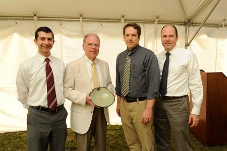 Photo of Tom Tillman receiving his Spirit of Sustainability Award.