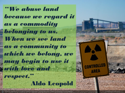 "Picture of Aldo Leopold quote: ""We abuse land because we regard it as a commodity belonging to us. When we see land as a community to which we belong, we may begin to use it with love and respect."""