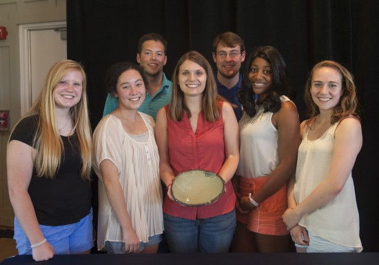 Photo of Student representatives from the Campus Kitchen Project with their Spirit of Sustainability Award. Pictured from left to right are: Alexis Skarupa, Hallie Nelson, Lauren Chastain, Jessica Polk, Rachael Gamlin (front), and Austin Zinkle, Daniel Cason (back).