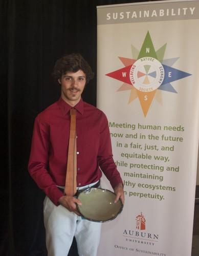 Photo of Jaimen Perez with his William Olson Student Achievement in Sustainability Award.