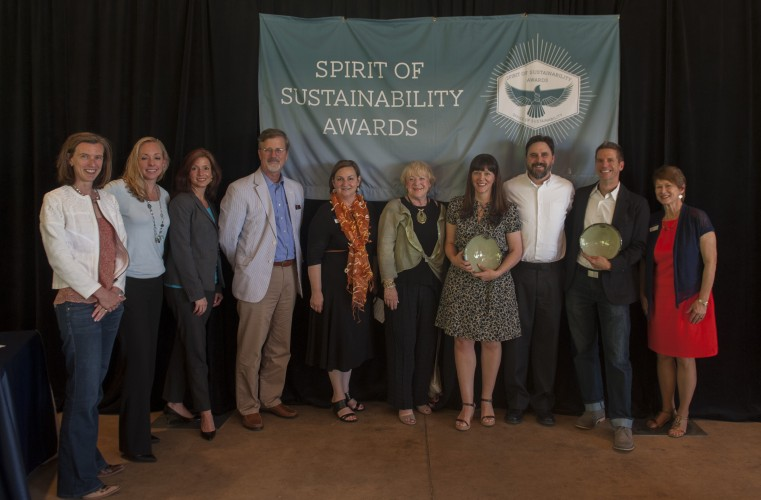 Photo of Rural Studio representatives with their Spirit of Sustainability Award. Pictured from left to right are: Jacquelyn Overbey Hart, Colleen Bourdeau, Dara Hosey, David Hinson, Melissa Foster Denney, Marcia Moulton, Carlie Bullock-Jones, Brandon Jones, Rusty Smith, and Lee Dow