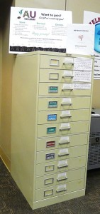 Photo of AU Seed Library cabinet located in RBD Library.