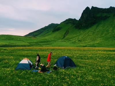 Photo of Setting up camp in Vik, South Coast, Iceland.