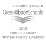 Logo of US Department of Education Green Ribbon Schools 2015 Postsecondary Sustainability Awardee Logo