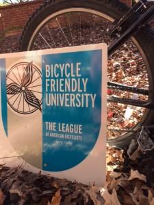 Photo of Auburn's Bike Friendly University sign!