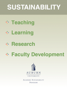Photo of Academic Sustainability Table Card: Teaching, Learning, Research, Faculty Development