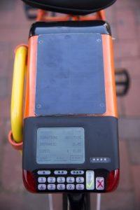 Photo of keypad on a War Eagle Bike Share bike.