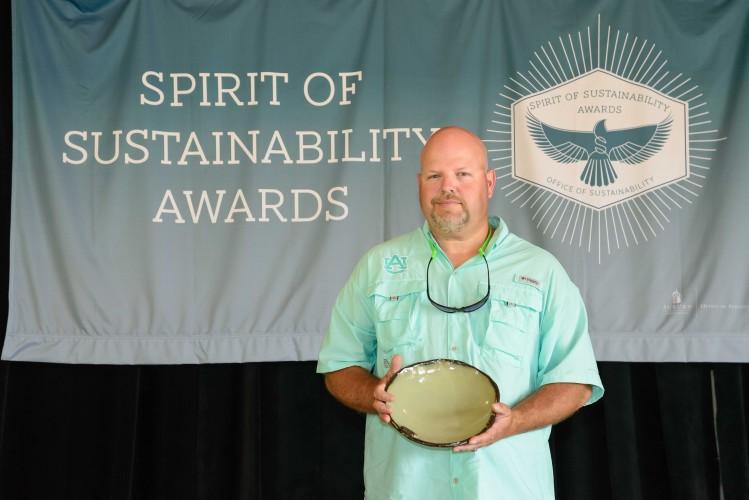 Photo of Michael Freeman humbly accepting his award.
