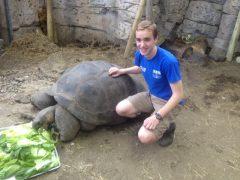 Photo of Matt Preisser at work in the Newport Aquarium