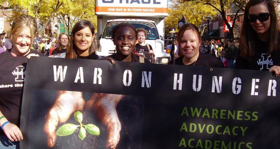Photo of students march to raise awareness and spur action on issues related to hunger.