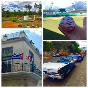 Photo collage of Cuba's many rich experiences: local farm life; baseball; classic American cars; and historical buildings in Havanna (clockwise from top left).
