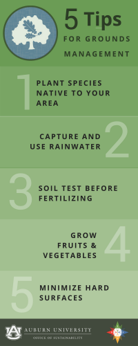 Graphic of 5 Tips for Grounds Management: 1. Plant species native to your area 2. Capture and use rainwater 3. Soil test before fertilizing 4. Grow fruits & veggies 5. Minimize hard surfaces