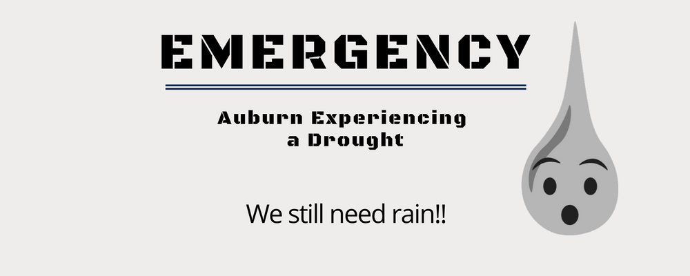 Graphic stating Auburn is experiencing drought conditions.