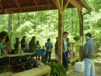 Photo of faculty taking a break at the sustainability workshop.
