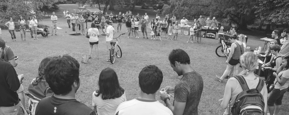 Photo of bike giveaway at the 2016 Sustainability Picnic