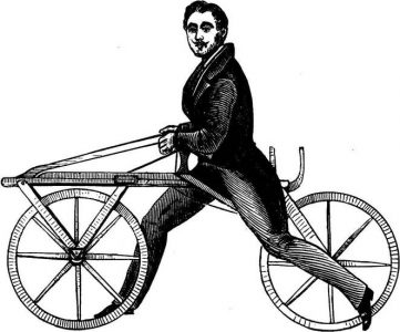 A drawing of a man on a laufmaschine