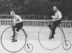 Riders a top of the next iteration of the bicycle, a penny-farthing. (Photo credit: Flikr)