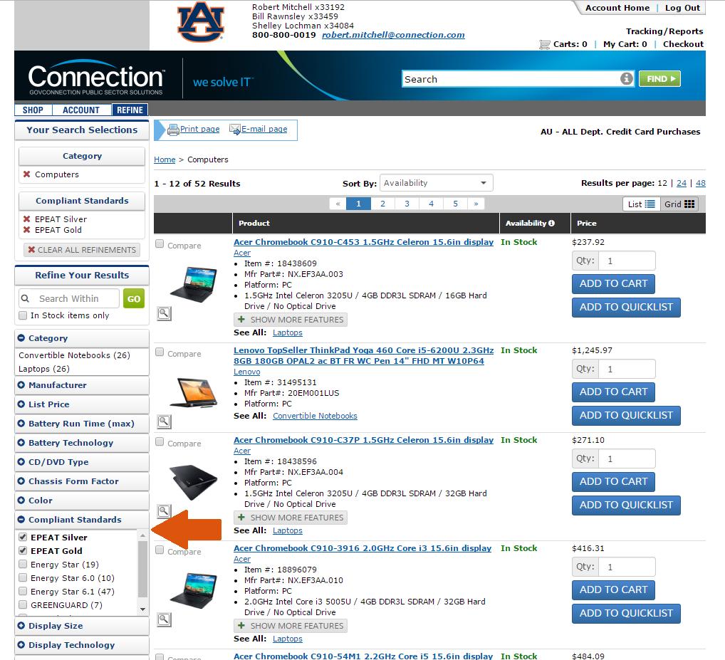 Screenshot of GovConnection website showing filtering options.