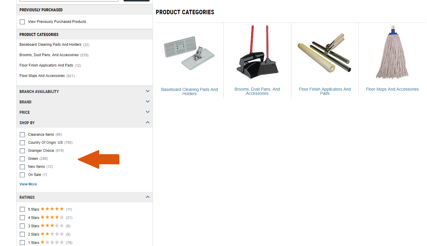 Screenshot of Grainger website showing filtering options.