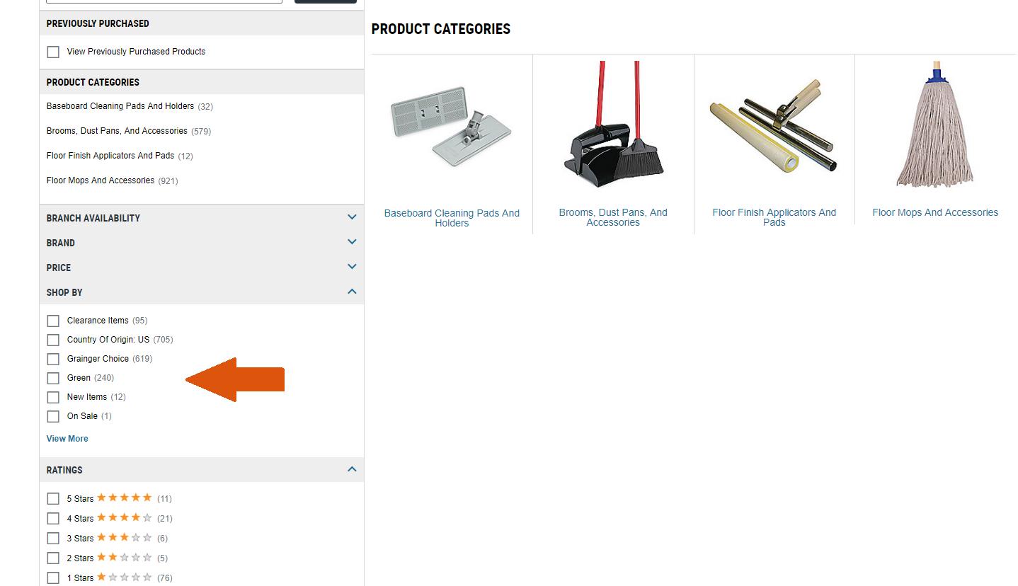 Screenshot of Grainger website showing filtering options.