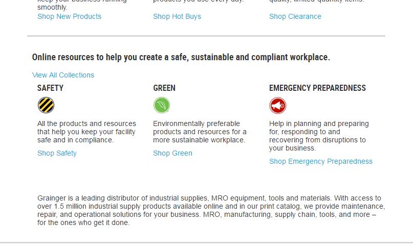 Screenshot of Grainger website showing online resource categories.