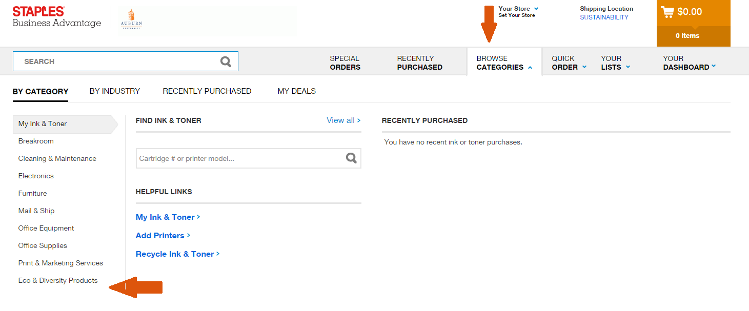 Screenshot of Staples Advantage website showing filtering options under the categories tab.