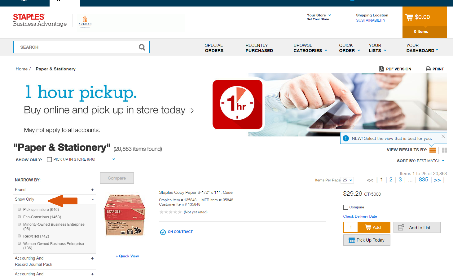 Screenshot of Staples Advantage website showing filtering options on sidebar.