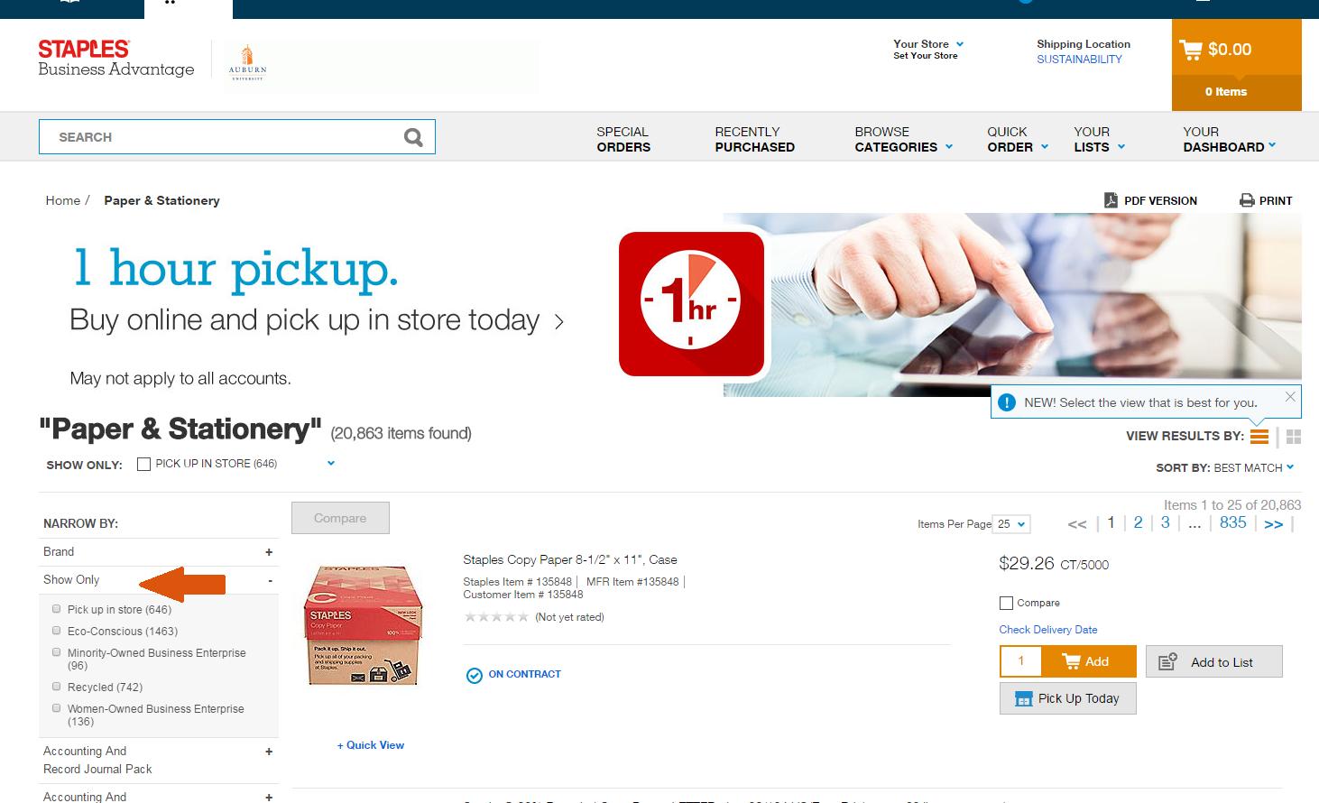 Screenshot of Staples Advantage website showing filtering options on sidebar.
