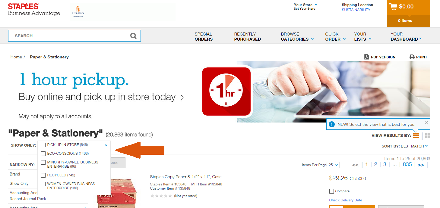 Screenshot of Staples Advantage website showing filtering options.