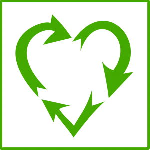 Graphic of recycling logo in shape of a heart