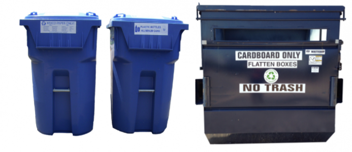 Photos of recycling bins