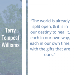 """Quote of the Week by Terry Tempest Williams, """"The world is already split open, and it is in our destiny to heal it, each in our own way, each in our own time, with the gifts that are ours."""""""