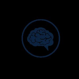 Graphic icon of a brain