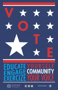 "Graphic with ""Vote, Educate Yourself, Engage Community, Exercise Your Voice"""