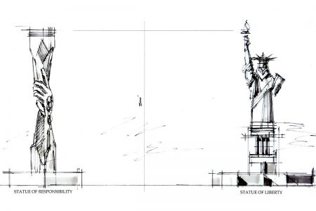 Sketch of the proposed Statue of Responsibility. Image courtesy of the Responsibility Foundation.