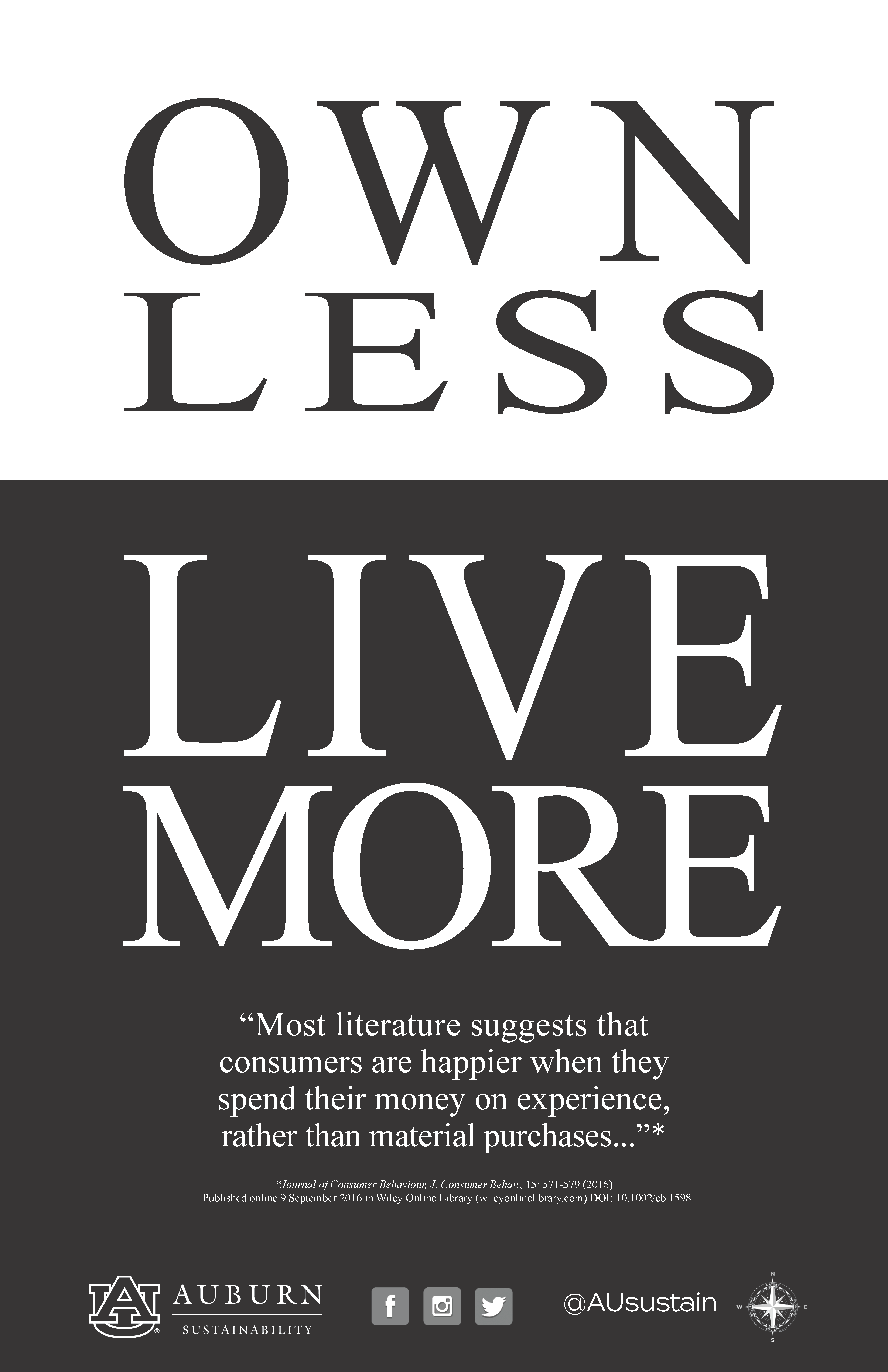 "Image reading, ""Own less; live more."""