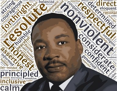 Graphic Image of Leadership Words and Martin Luther King, Jr.