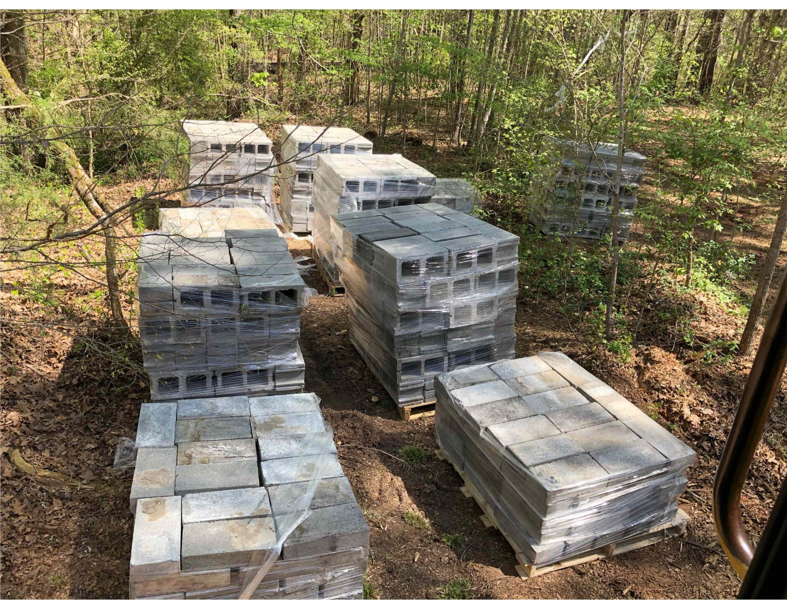 Pallets of blocks and bricks for donation