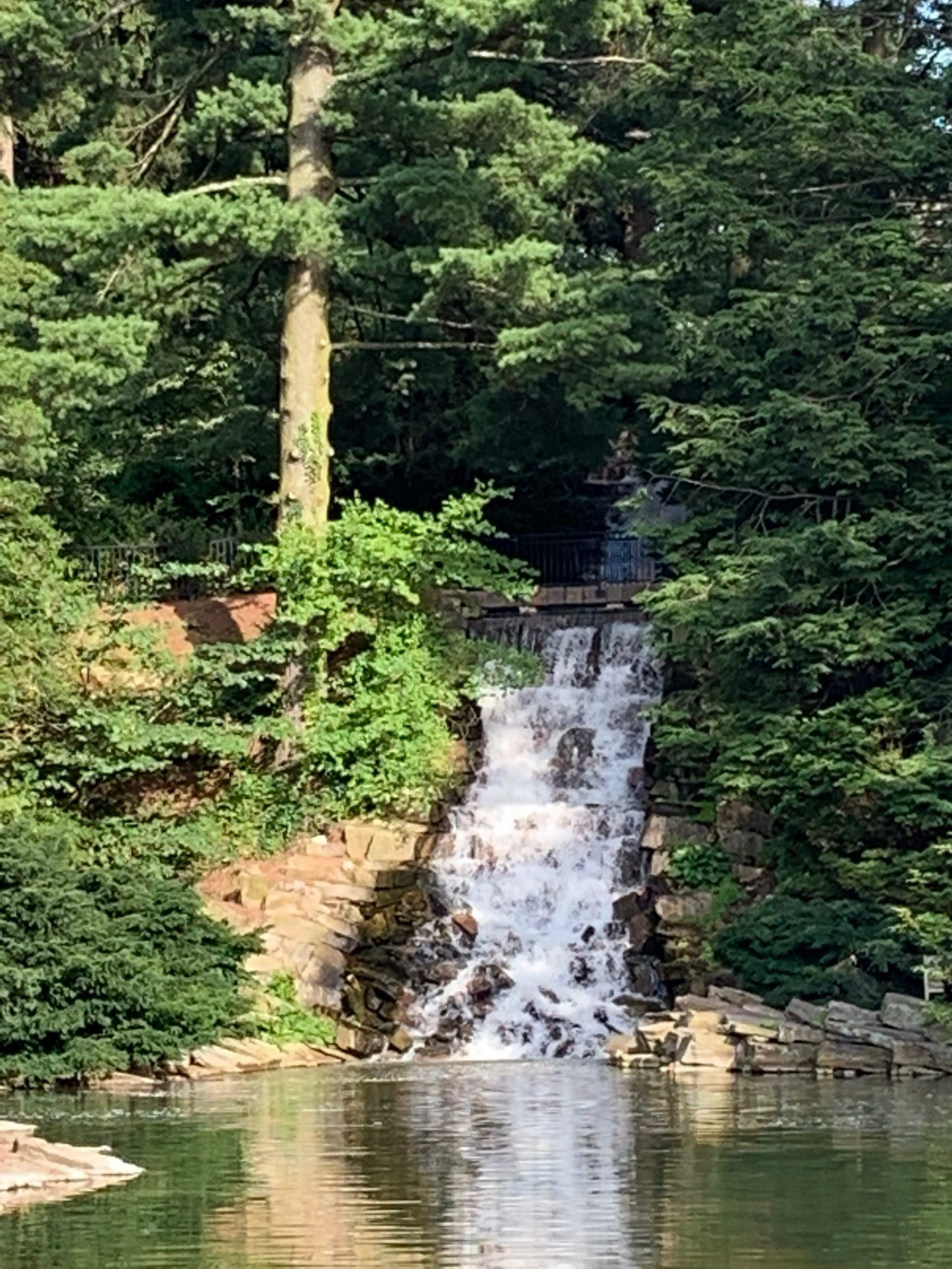 A picture of a waterfall at Longwood Gardens. Photo by Wendy Vidor.