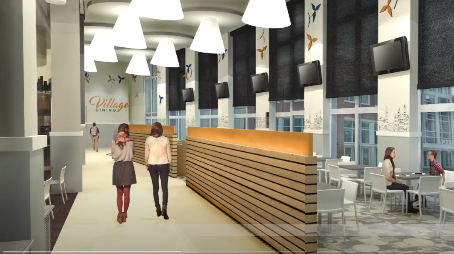 Image of designer's rendering of the Village Dining Hall renovation.