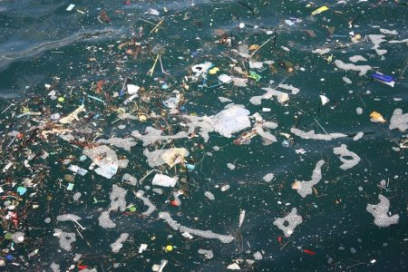 ocean water with plastic pollution