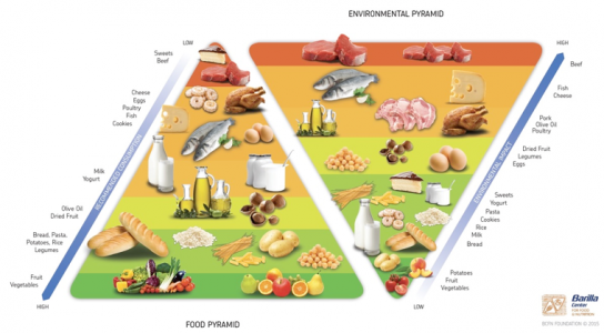 Graphic of traditional food pyramid and the environmental food pyramid.