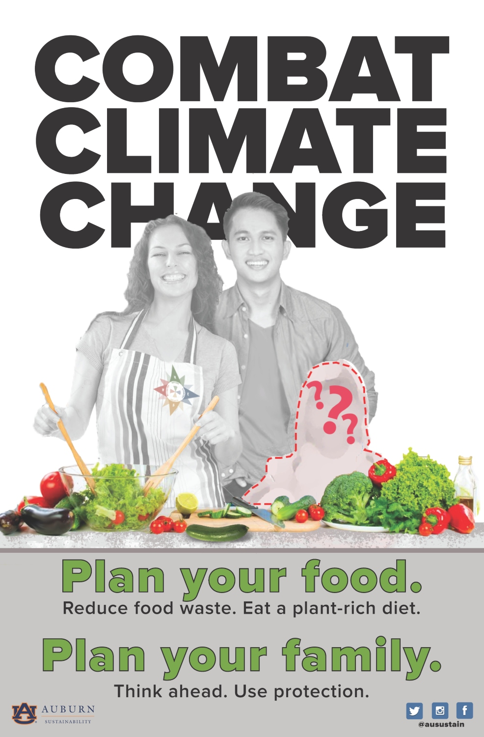 """Graphic reading """"Combat Climate Change: Plan your food. Plan your family."""""""