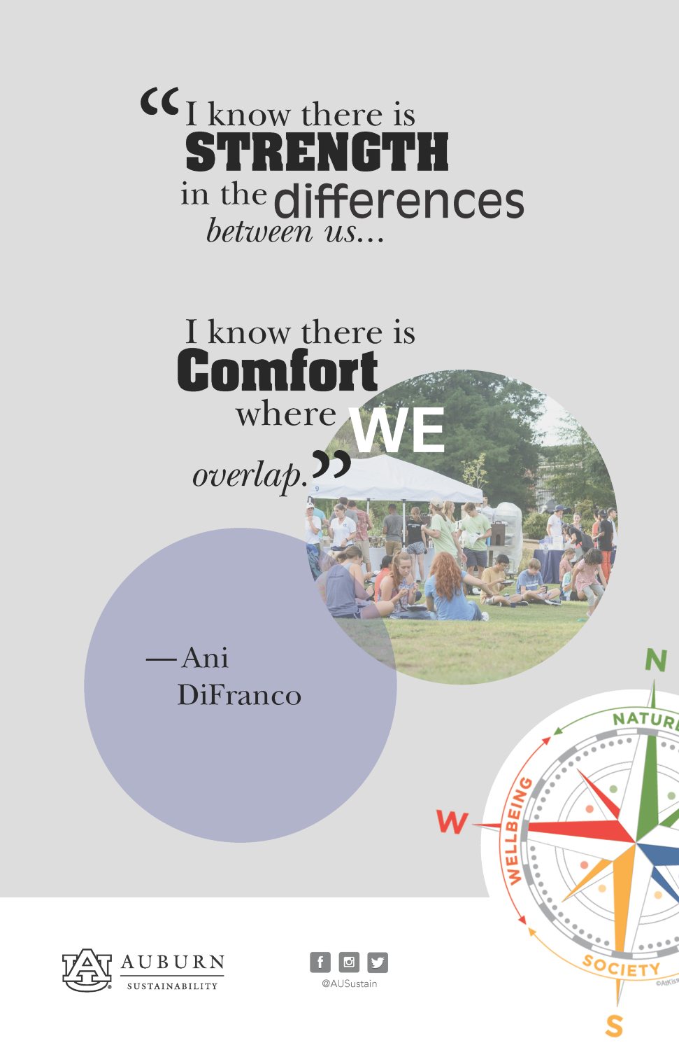 """Graphic with the Ani DiFranco quote: """"I know there is strength in the differences between us. I know there is comfort where we overlap."""""""
