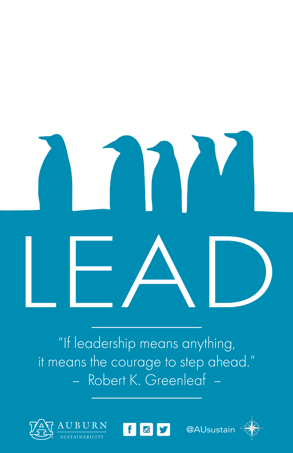 "Image with quote: ""If leadership means anything, it means the courage to step ahead."" - Robert K. Greenleaf"