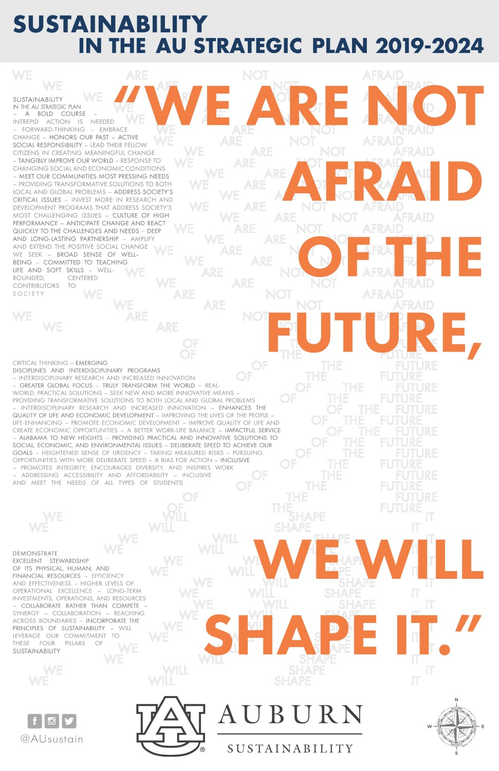 "Graphic quoting Auburn University's Strategic Plan: ""We are not afraid of the future, we will shape it."""