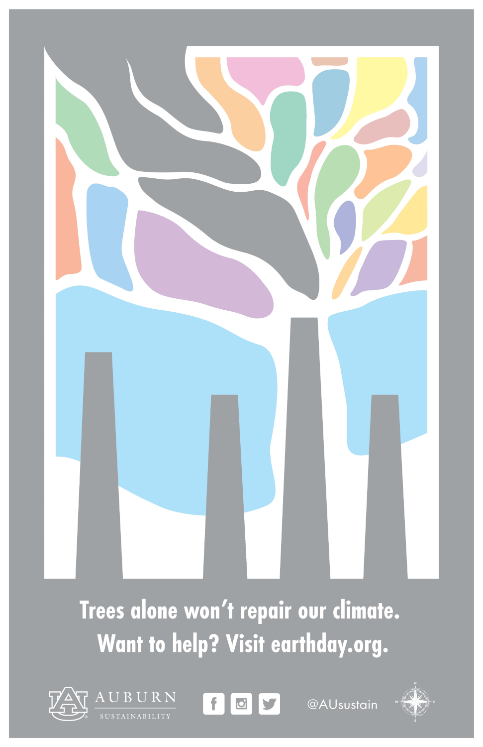 "Graphic saying ""Trees alone won't repair our climate. Want to help? Visit earthday.org."