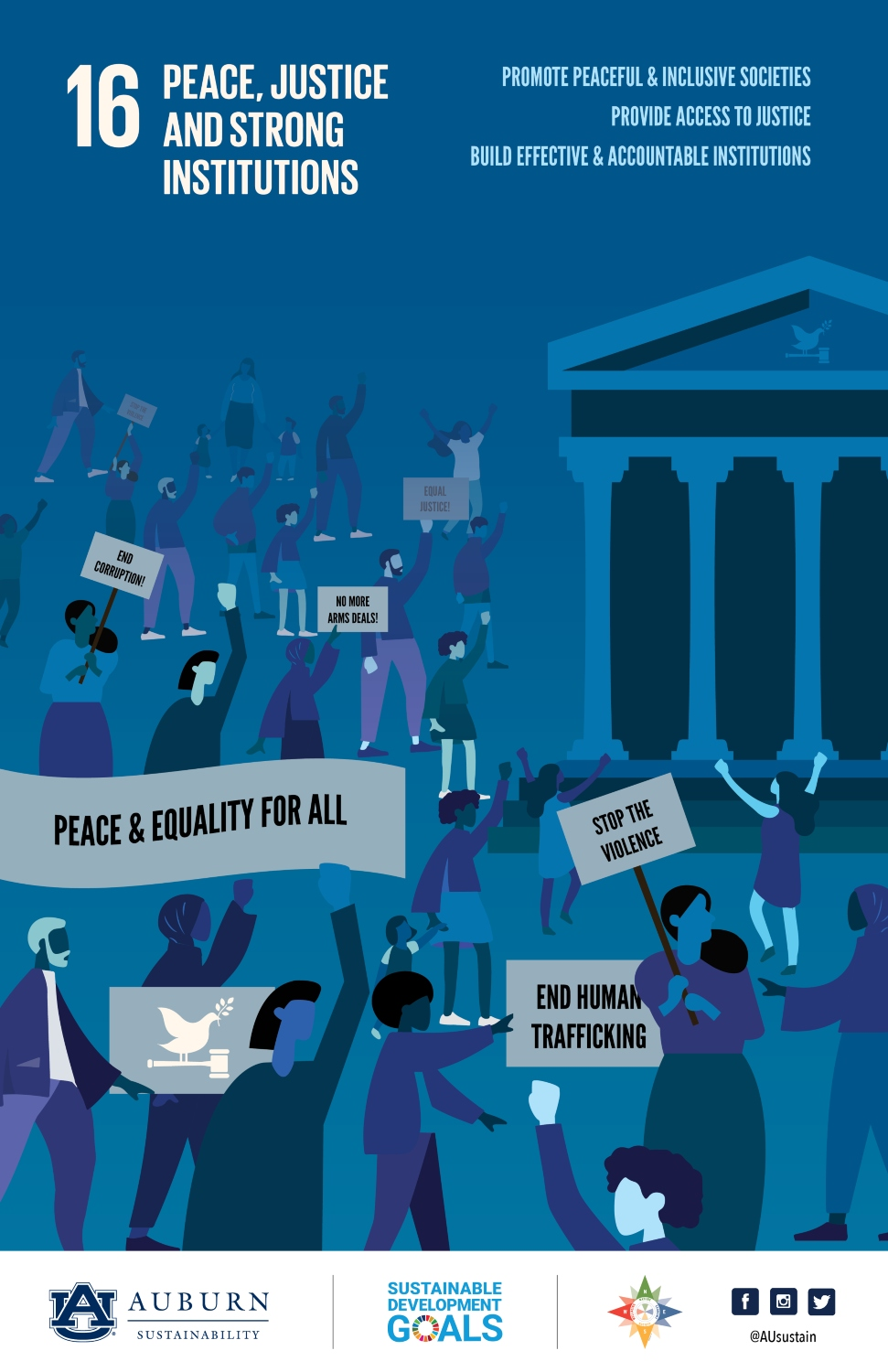 Graphic representing Sustainable Development Goal 16: Peace, Justice, and Strong Institutions